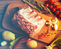 Fresh raw pork. Raw pork on the wooden board Stock Images