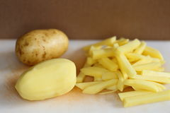 Fresh raw potatoes and french fries royalty free stock photos