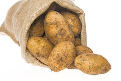 A fresh raw potatoes in a sack Royalty Free Stock Photos
