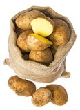 A fresh raw potatoes in a sack Royalty Free Stock Images