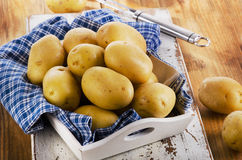 Fresh raw potatoes on wooden background. Selective focus Stock Photo
