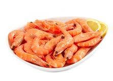 Fresh raw prawn. On white plate Royalty Free Stock Photo