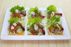 Fresh raw prawn. In spicy fish sauce Stock Photo