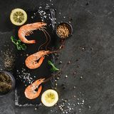 Fresh raw prawns or boiled red shrimps with spices and lemon on slate stone on dark stone background. Seafood, top view, flat lay. Copy space royalty free stock photo
