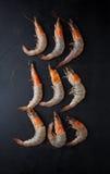 Fresh raw prawns. On a dark background Stock Image