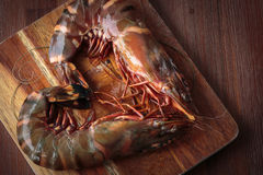 Fresh raw prawns. Delicious fresh prawns on wooden chopping board Royalty Free Stock Photo