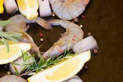 Fresh raw prawns. Freah  raw green prawns with rosemary  and lemons on black background Royalty Free Stock Photos