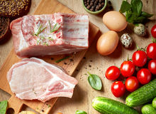 Fresh raw products. Various fresh raw products, top view Royalty Free Stock Photography