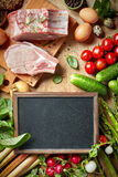 Fresh raw products. Various fresh raw products, top view Stock Image