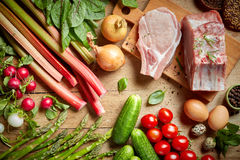 Fresh raw products. Various fresh raw products, top view Royalty Free Stock Image