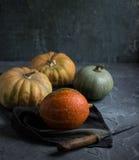 Fresh raw pumpkin on a dark background Royalty Free Stock Image