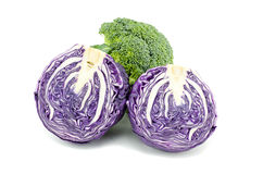 Fresh raw purple cabbage and broccoli Royalty Free Stock Photos