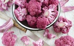 Fresh raw purple cauliflower. In a bowl close up Royalty Free Stock Image