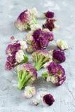 Fresh raw purple cauliflower. On a grey background close up Royalty Free Stock Photo