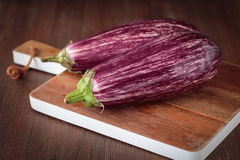 Fresh raw purple eggplants. For an healthy meal Stock Image
