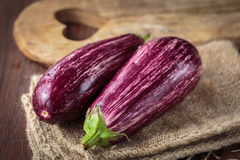Fresh raw purple eggplants. For an healthy nutrition Stock Image