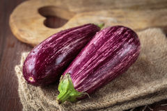 Fresh raw purple eggplants. For an healthy nutrition Royalty Free Stock Photography