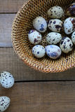 Fresh raw quail eggs in a basket Stock Photos