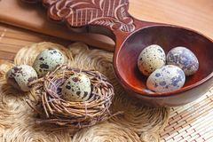 Fresh raw quail eggs in wooden spoon on rustic straw and wooden vintage background royalty free stock photo