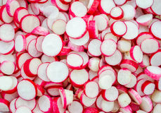 Fresh raw The radish is cut in slices.  Royalty Free Stock Images