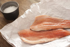 Fresh raw rainbow trout fillets Royalty Free Stock Photo