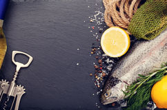 Fresh raw rainbow trout fish and white wine. Fresh raw rainbow trout fish with spices and white wine on black stone with copy space. Toned Royalty Free Stock Photo