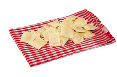 Fresh and raw ravioli on the kitchen cloth Royalty Free Stock Image