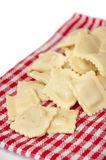 Fresh and raw ravioli on the kitchen cloth Stock Photography
