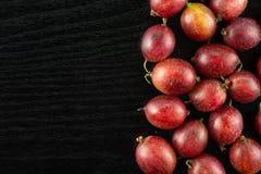 Fresh raw red gooseberry on black wood. Lot of whole fresh red gooseberry hinnomaki variety right corner flatlay on black wood Stock Photos