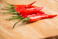 Fresh raw red hot chili peppers on wood. Closeup of  fresh raw red hot chili peppers on wood Stock Image