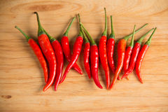 Fresh raw red hot chili peppers on wood. Closeup of  fresh raw red hot chili peppers on wood Royalty Free Stock Photo