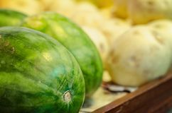 Fresh raw red watermelon on market stall. Selective focus shot Royalty Free Stock Photography