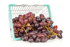 Fresh raw red wine grapes isolated on white. Red globe grape cluster out a shopping basket isolated on white background fresh shiny dark pink berries Stock Photos