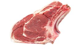 Fresh Raw Ribeye Steak Isolated On White Background. Close up. Top View Royalty Free Stock Photo