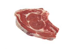 Fresh Raw Ribeye Steak Isolated On White Background. Close up. Top View Stock Image