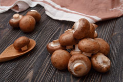 Fresh raw royal champignons on dark wooden rustic table. Close up view. Fresh raw royal champignons on dark wooden rustic table. Close up view Stock Images