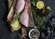 Fresh raw ruby snapper, herbs and spices on a dark background. Cooking dinner Stock Photo