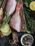 Fresh raw ruby snapper, herbs and spices on a dark background. Cooking dinner Stock Photography