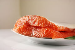Fresh raw salmon. With sage Royalty Free Stock Image