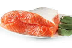 Fresh raw salmon. With sage, closeup Stock Images