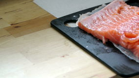 Fresh raw salmon stock video footage