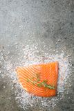 Fresh raw salmon filet. Fresh raw salmon fillet over coarse salt on stone background, top view with copy space Stock Photo