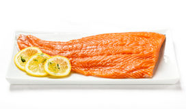 Fresh raw salmon fillet. On white background Stock Images