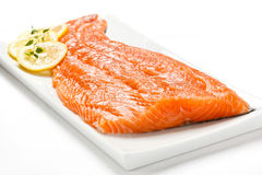 Fresh raw salmon fillet. On white background Royalty Free Stock Image