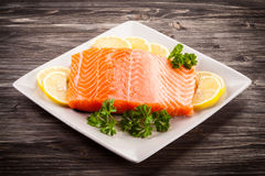 Fresh raw salmon fillet.  Royalty Free Stock Photos