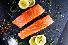 Fresh raw salmon fillet with aromatic herbs, spices. On stone background Royalty Free Stock Photo