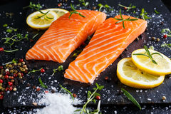 Fresh raw salmon fillet with aromatic herbs, spices. Fresh raw salmon fillet with aromatic herbs, spices on stone background Stock Images