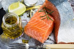 Raw Salmon Fillet with Aromatic Herbs and Spices. Fresh Raw Salmon Fillet with Aromatic Herbs and Spices on White Paper Royalty Free Stock Photos