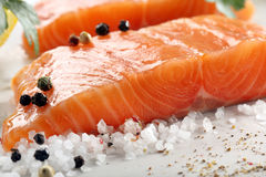 Fresh raw salmon fillet and aromatic spices for baking.  Stock Photos
