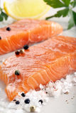 Fresh raw salmon fillet and aromatic spices for baking.  Royalty Free Stock Photos